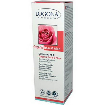 Logona Naturkosmetik, Cleansing Milk, Organic Rose & Aloe, 4.2 fl oz (125 ml)