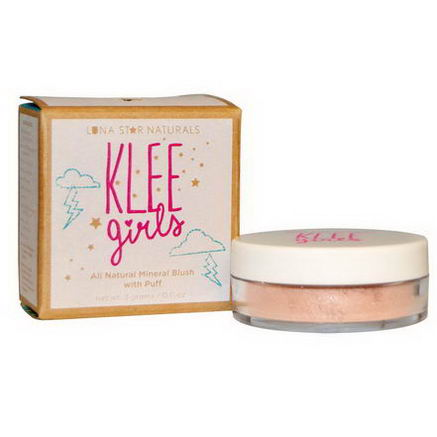 Luna Star Naturals, Klee Girls, All Natural Mineral Blush with Puff, DelRay Reflection, 0.11oz (3g)