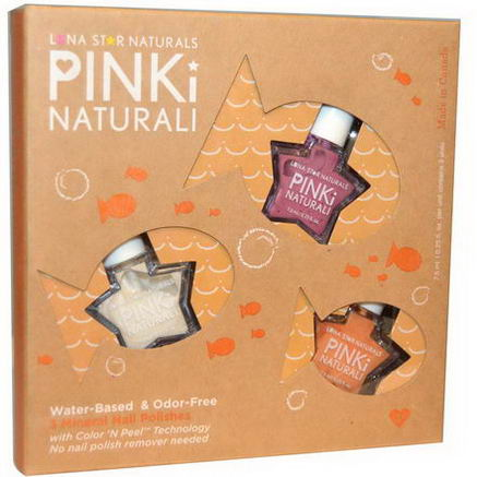 Luna Star Naturals, Pinki Nautrali, Crystal Lake Swims, 3 Mineral Nail Polishes, 0.25 fl oz (7.5 ml) Each