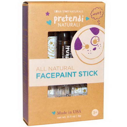 Luna Star Naturals, Pretendi Naturali, All Natural Facepaint Stick, Black, 0.11oz (3g)