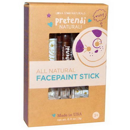 Luna Star Naturals, Pretendi Naturali, All Natural Facepaint Stick, Brown, 0.11oz (3g)
