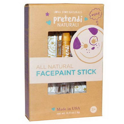 Luna Star Naturals, Pretendi Naturali, All Natural Facepaint Stick, Gold, 0.11oz (3g)