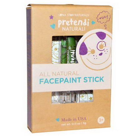 Luna Star Naturals, Pretendi Naturali, All Natural Facepaint Stick, Green, 0.11oz (3g)