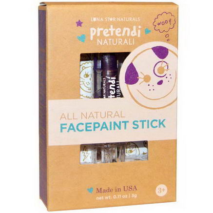 Luna Star Naturals, Pretendi Naturali, All Natural Facepaint Stick, Purple, 0.11oz (3g)