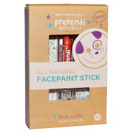 Luna Star Naturals, Pretendi Naturali, All Natural Facepaint Stick, Red, 0.11oz (3g)