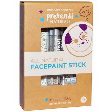 Luna Star Naturals, Pretendi Naturali, All Natural Facepaint Stick, Silver, 0.11oz (3g)