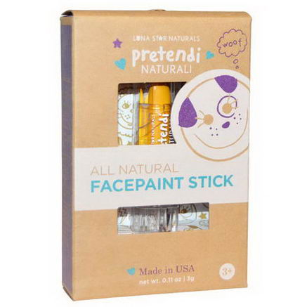 Luna Star Naturals, Pretendi Naturali, All Natural Facepaint Stick, Yellow, 0.11oz (3g)