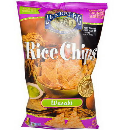 Lundberg, Rice Chips, Wasabi, 6oz (170g)