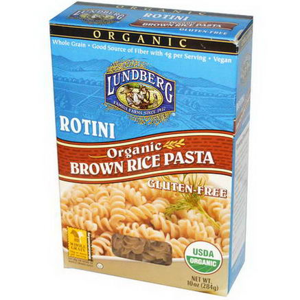 Lundberg, Rotini, Brown Rice Pasta, 10oz (284g)