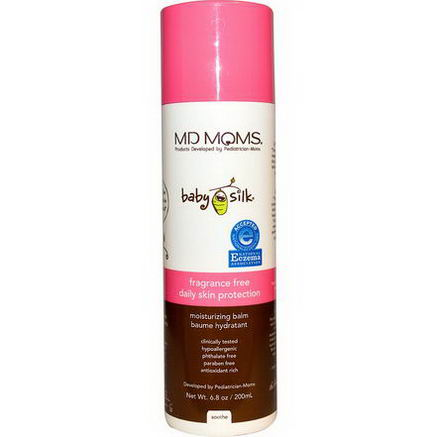 MD Moms, Baby Silk, Daily Skin Protection, Moisturizing Balm, Fragrance Free, 6.8oz (200 ml)