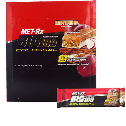 MET-Rx, Big 100 Colossal, Meal Replacement Bar, Crispy Apple Pie, 12 Bars, 3.52oz (100g) Each