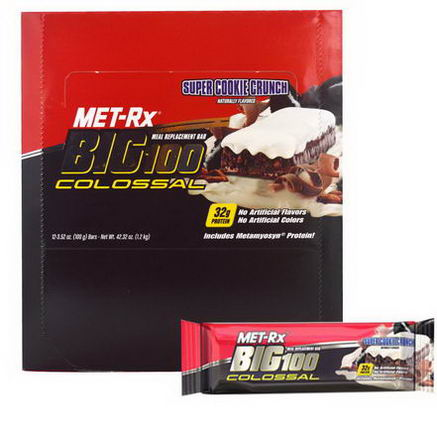 MET-Rx, Big 100 Colossal, Meal Replacement Bar, Super Cookie Crunch, 12 Bars, 3.52oz (100g) Each