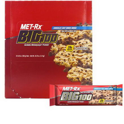 MET-Rx, Big 100, Meal Replacement Bar, Chocolate Chip Cookie Dough, 12 Bars, 3.52oz (100g) Each