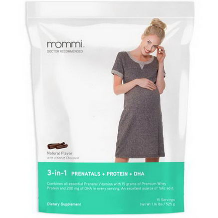 MOMMI, 3-in-1 Prenatals + Protein + DHA, Natural Flavor with a Hint Chocolate, 1.16 lbs (525g)