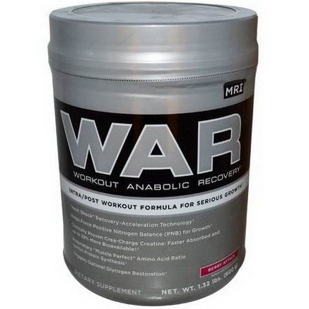 MRI, WAR, Workout Anabolic Recovery, Berry Attack, 1.32 lbs (600g)