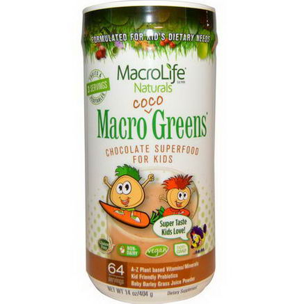Macrolife Naturals, Macro Coco Greens, Chocolate SuperFood For Kids, 14oz (404g)