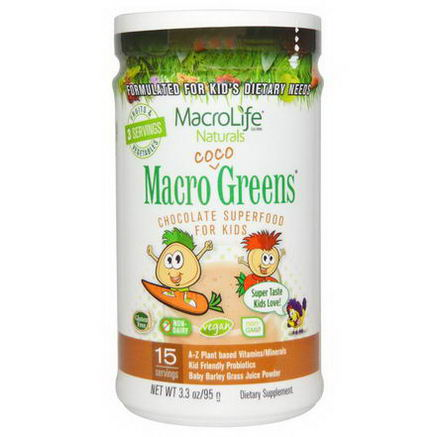 Macrolife Naturals, Macro Coco Greens, Chocolate SuperFood for Kids, 3.3oz (95g)