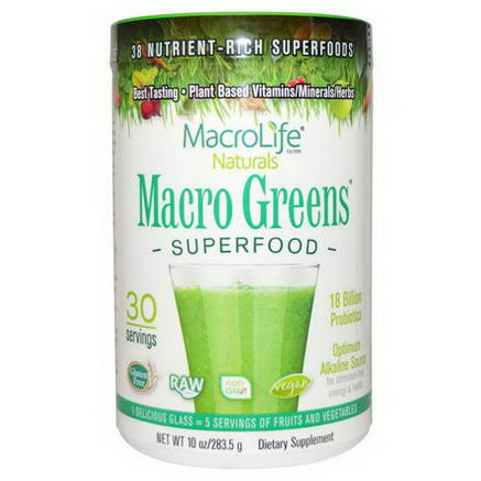 Macrolife Naturals, Macro Greens, Nutrient - Rich Superfoods, 10oz (283.5g)