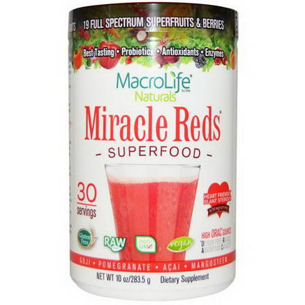 Macrolife Naturals, Miracle Reds, Superfood, Goji-Pomegranate-Acai-Mangosteen, 10oz (283.5g)