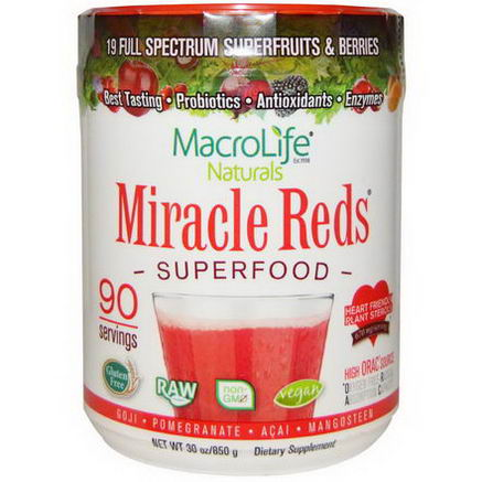 Macrolife Naturals, Miracle Reds, Superfood, Goji- Pomegranate- Acai- Mangosteen, 30oz (850g)
