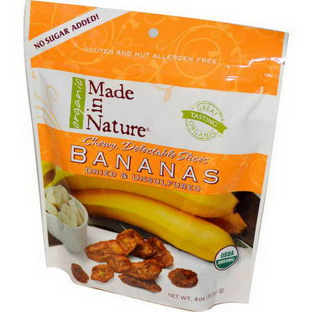 Made in Nature, Organic Bananas, Dried & Unsulfured, 4oz (113g)