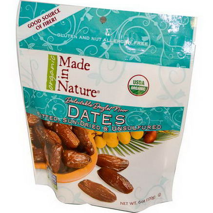Made in Nature, Organic Dates, Pitted, Sun-Dried & Unsulfured, 6oz (170g)