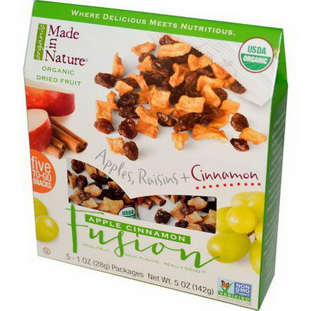 Made in Nature, Organic Dried Fruit, Apple Cinnamon Fusion, 5 Packs, 1oz (28g) Each