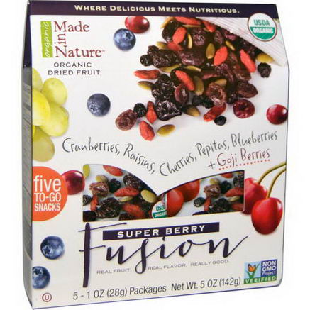 Made in Nature, Organic Dried Fruit, Super Berry Fusion, 5 Packages, 1oz (28g) Each