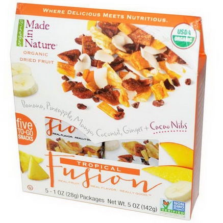 Made in Nature, Organic Dried Fruit, Tropical Fusion, 5 Packages, 1oz (28g) Each