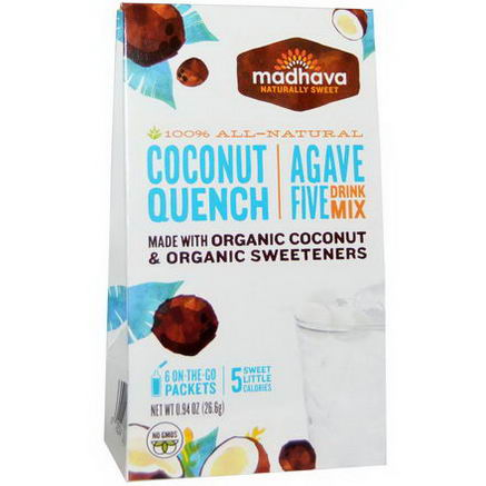 Madhava Natural Sweeteners, Agave Five Drink Mix, Coconut Quench, 6 Packets, 0.94oz (26.6g)