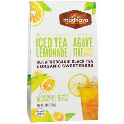 Madhava Natural Sweeteners, Agave Five Drink Mix, Iced Tea Lemonade, 6 Packets, 1.04oz (29.4g)