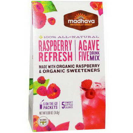 Madhava Natural Sweeteners, Agave Five Drink Mix, Raspberry Refresh, 6 Packets, 0.88oz (24.8g)