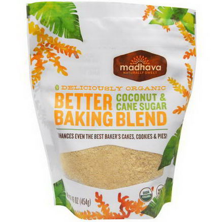 Madhava Natural Sweeteners, Deliciously Organic Better Baking Blend, Coconut & Cane Sugar, 16oz (454g)