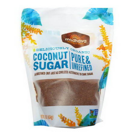 Madhava Natural Sweeteners, Deliciously Organic Coconut Sugar, 1 lb (454g)