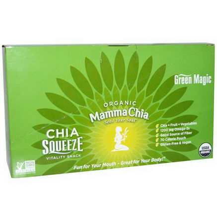 Mamma Chia, Chia Squeeze Vitality Snack, Green Magic, 8 Pouches, 3.5oz (99g) Each