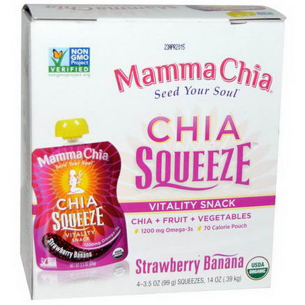 Mamma Chia, Chia Squeeze, Vitality Snack, Strawberry Banana, 4 Squeezes, 3.5oz (99g) Each