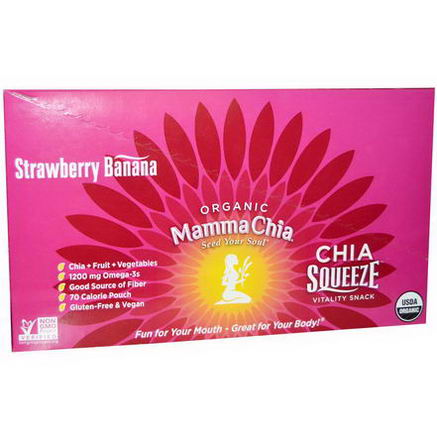 Mamma Chia, Organic Chia Squeeze Vitality Snack, Strawberry Banana, 8 Pouches, 3.5oz (99g) Each