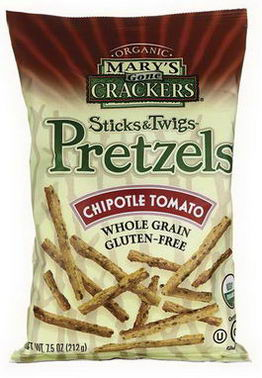Mary's Gone Crackers, Organic, Sticks & Twigs Pretzels, Chipotle Tomato, 7.5oz (212g)