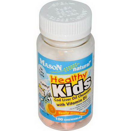 Mason Vitamins, Healthy Kids, Cod Liver Oil Chewable, with Vitamin D, Tasty Orange Flavor, 100 Chewables