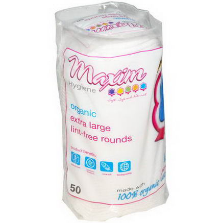 Maxim Hygiene Products, Organic Extra Large Lint-Free Rounds, 50 Count