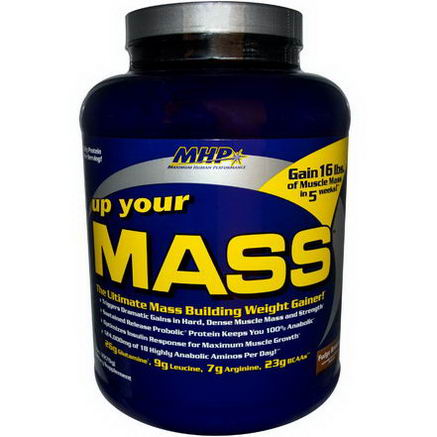 Maximum Human Performance, LLC, Up Your Mass, Weight Gainer, Fudge Brownie, 5 lbs (2270g)