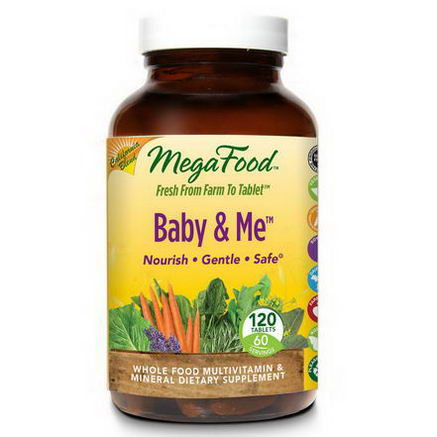 MegaFood, Baby & Me, California Blend, Whole Food Multivitamin & Mineral, 120 Tablets