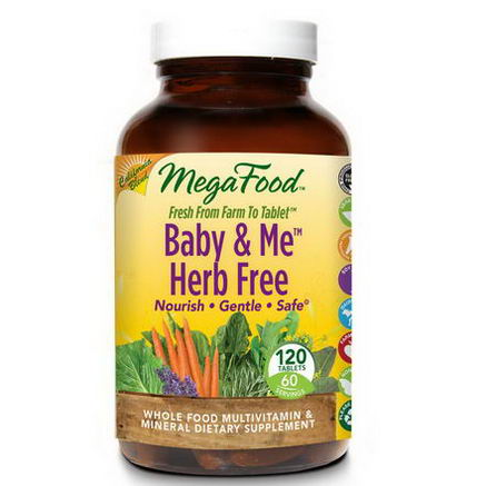 MegaFood, Baby & Me Herb Free, California Blend, Whole Food Multivitamin & Mineral, 120 Tablets