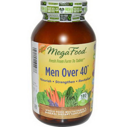MegaFood, Men Over 40, Whole Food Multivitamin & Mineral, Iron Free Formula, 180 Tablets