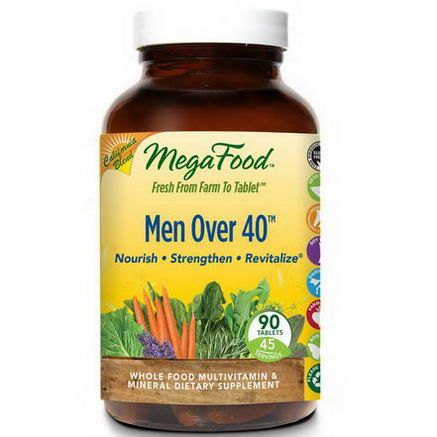 MegaFood, Men Over 40, Whole Food Multivitamin & Mineral, Iron Free Formula, 90 Tablets