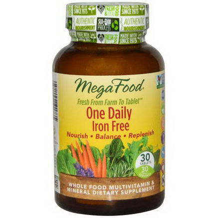 MegaFood, One Daily, Iron Free, 30 Tablets