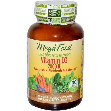 MegaFood, Vitamin D3, 2000 IU, 30 Tablets