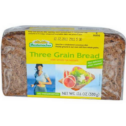 Mestemacher, Three Grain Bread with Whole Rye Kernels, 17.6oz (500g)