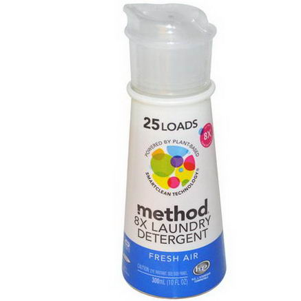 Method, 8X Laundry Detergent, 25 Loads, Fresh Air, 10 fl oz (300 ml)