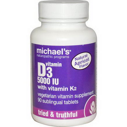 Michael's Naturopathic, Vitamin D3, with Vitamin K2, Natural Apricot Flavor, 5000 IU, 90 Sublingual Tablets